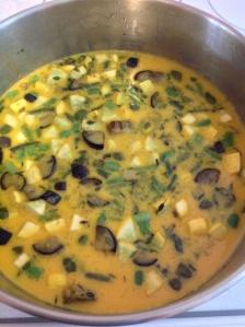 Sautéed veggies with eggs added