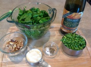 1/4 C. walnuts, 1/4-1/2 C. Parmesan cheese, 1 C. Scapes, Chard, Sunflower Oil, Salt & Pepper to taste