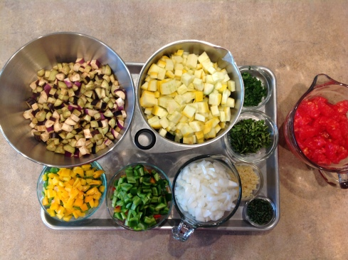 egpplant, squash, peppers, onion, garlic, basil, tomato