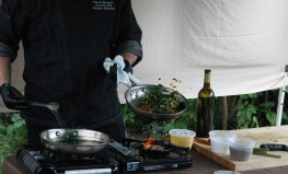 swiss chard in the pan